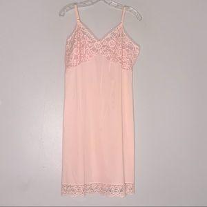 Vintage Vanity Fair Baby Pink Nylon Lace Slip 38